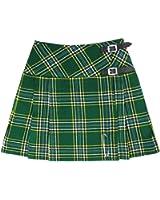 """Tartanista Irish Tartan 16.5"""" Green Mini Kilt Skirt - Leather Straps Free Pin"""