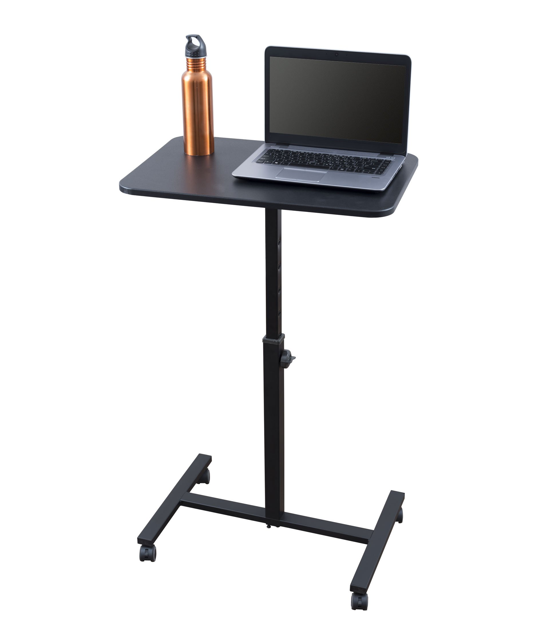 "Single Column Standing Desk | Laptop Stand - A Compact, Cost-Effective Rolling Workstation That Also Works Great as a Lectern/Podium (24"") (Black)"