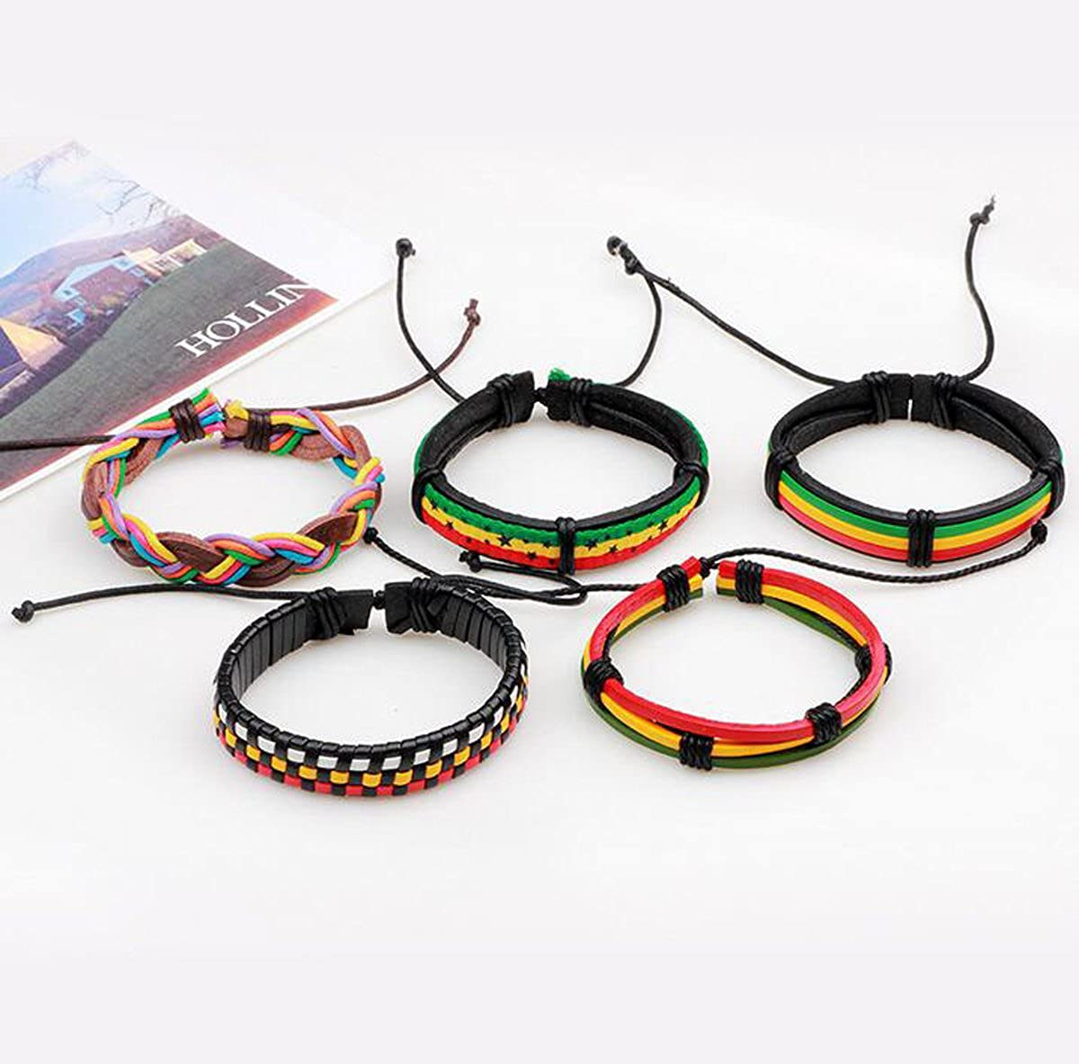 Titansten 5PCS Leather Handmade Diy Colorful Wax Rope Woven Bracelet Stackable Wristband Women /& Men
