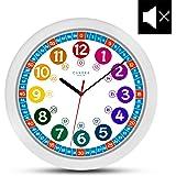 Onetime enfants Horloge murale (Ø) 30,5 cm enfants Silencieux Horloge murale avec horloge et design coloré - Lire L'Heure apprendre