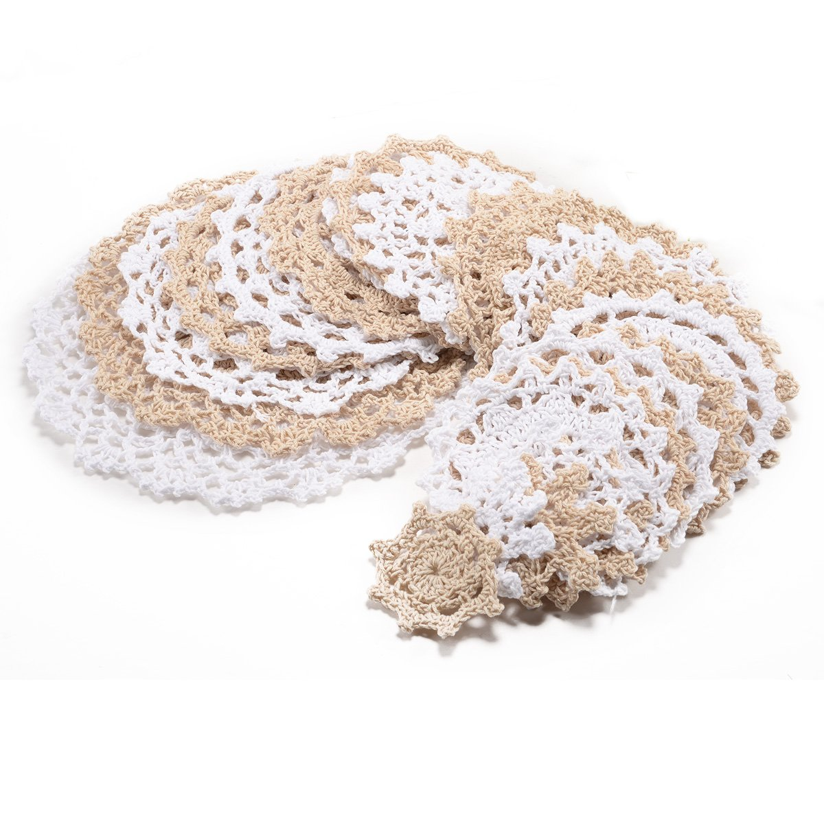 Surepromise 24pcs Vintage Lace Crochet Motifs Mini Doilies 5-19cm White Beige Decoration