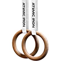 ATOMIC IRON – Wood Gymnastic Rings - Gym Rings Wooden – No 1 for Crossfit, Calisthenics & Outdoor or Home Gym Workout…