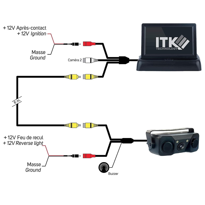 Lineas de gu/ía C/ámara de Marcha atr/ás inal/ámbrica LCD de 4.3- Asistencia de estacionamiento 8 LED de visi/ón Nocturna ITK TECHNOLOGY ITKC650T4310WF Impermeable