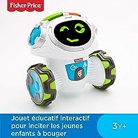 Fisher-Price Mouvi le Robot Interactif, Jouet Enfant Sons et Lumières, Jeux, pour des Apprentissages Préscolaires, 3 ans et Plus, FKC34