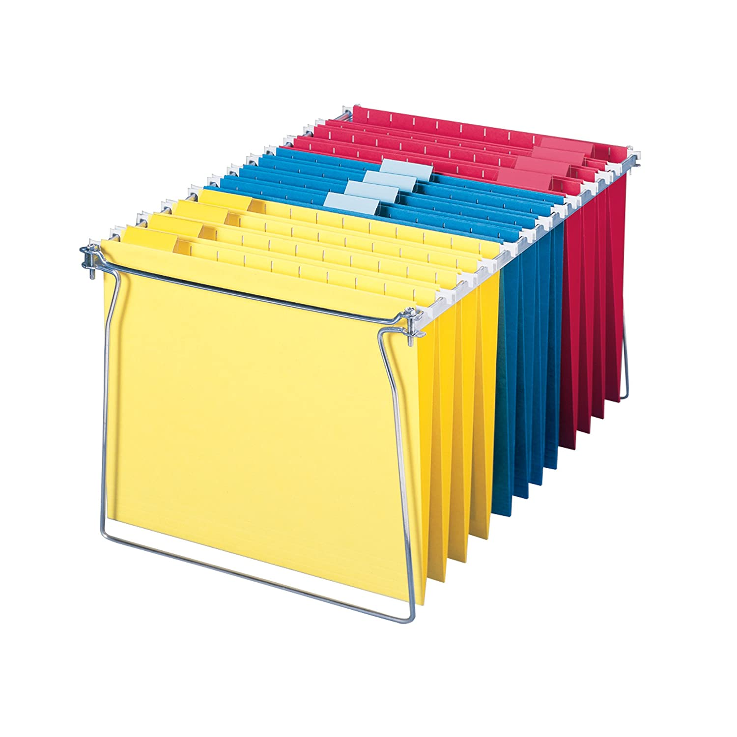 Smead Hanging Folders with 18-Inch Frame, Letter Size, 1/5 Cut Tab, Assorted Colors, 12 Per Pack plus Frame (64805)