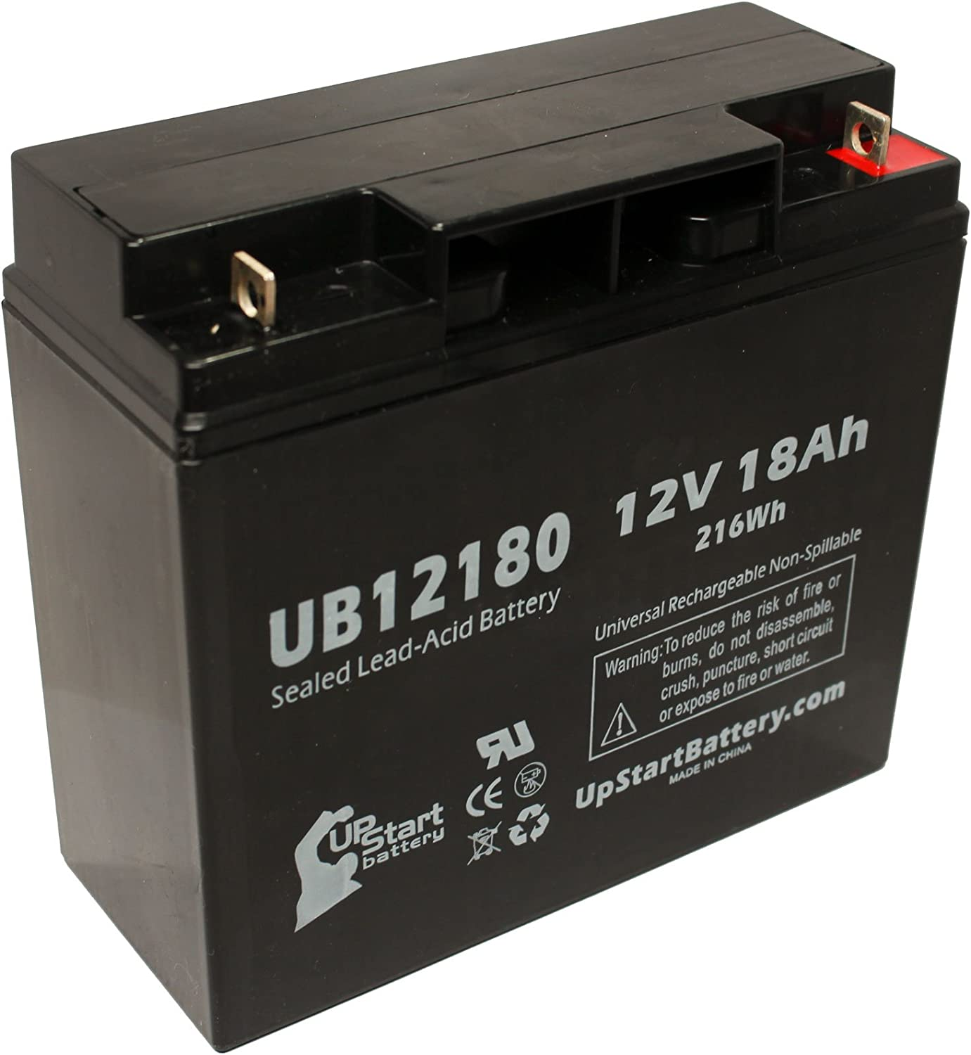 12V, 18Ah, 18000mAh, T4 Terminal, AGM, SLA Replacement for GS PORTALAC PX12170 Battery Replacement UB12180 Universal Sealed Lead Acid Battery