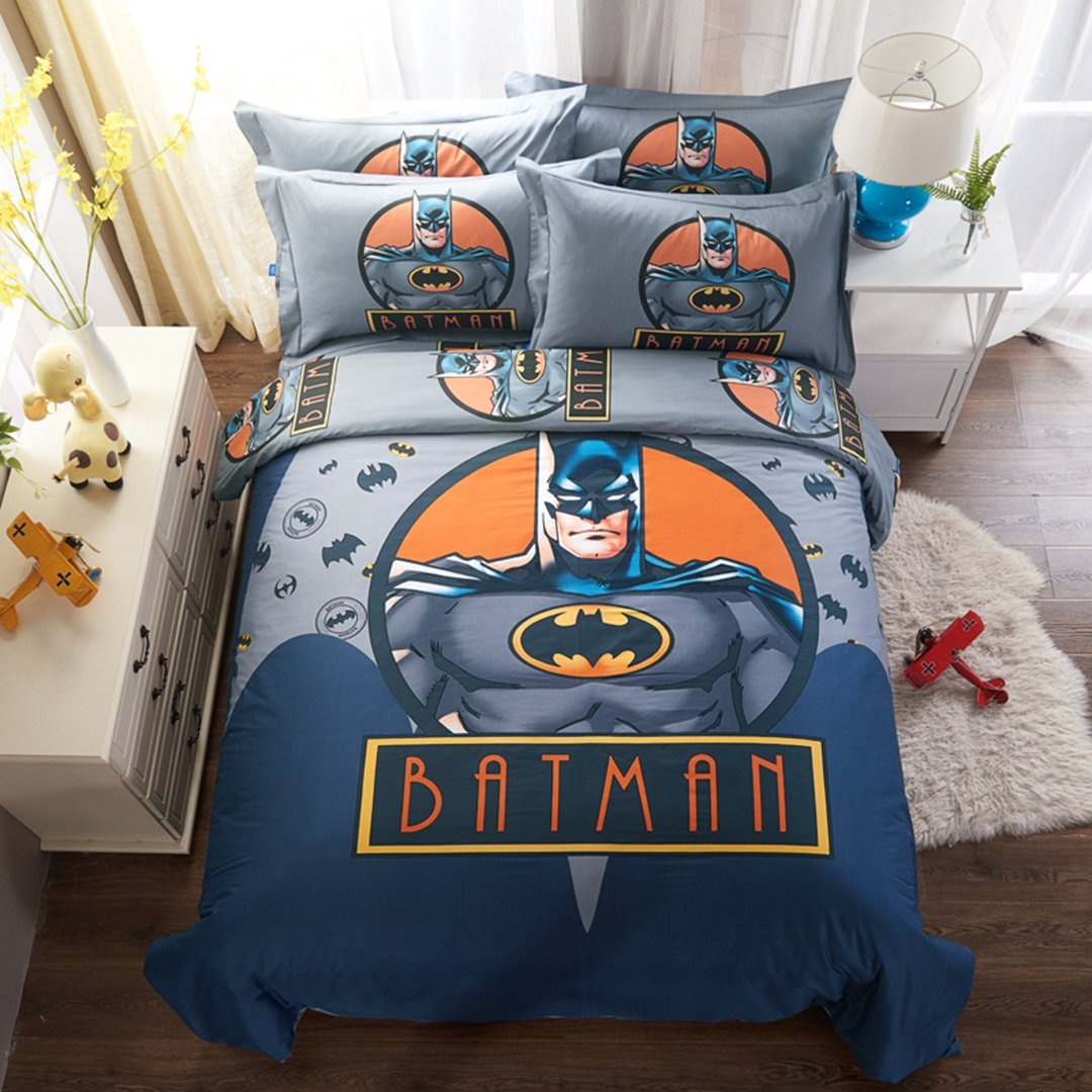 CASA 100% Cotton Kids Bedding Set Boys Batman Duvet cover and Pillow cases and Fitted Sheet,4 Pieces,Queen