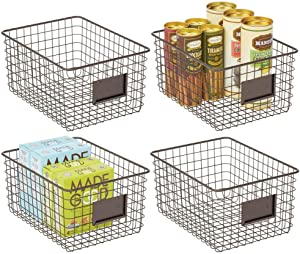 mDesign Farmhouse Decor Metal Wire Food Organizer Storage Bin Basket for Kitchen Cabinets, Pantry, Bathroom, Laundry Room, Closets, Garage, 4 Pack - Bronze