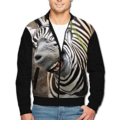 bb33b1ca5d1 Amazon.com  HOODSWOP Men s Bomber Jacket Funny Zebra Front Print Casual  Lightweight Full-Zip Jacket Coat with Pockets  Clothing