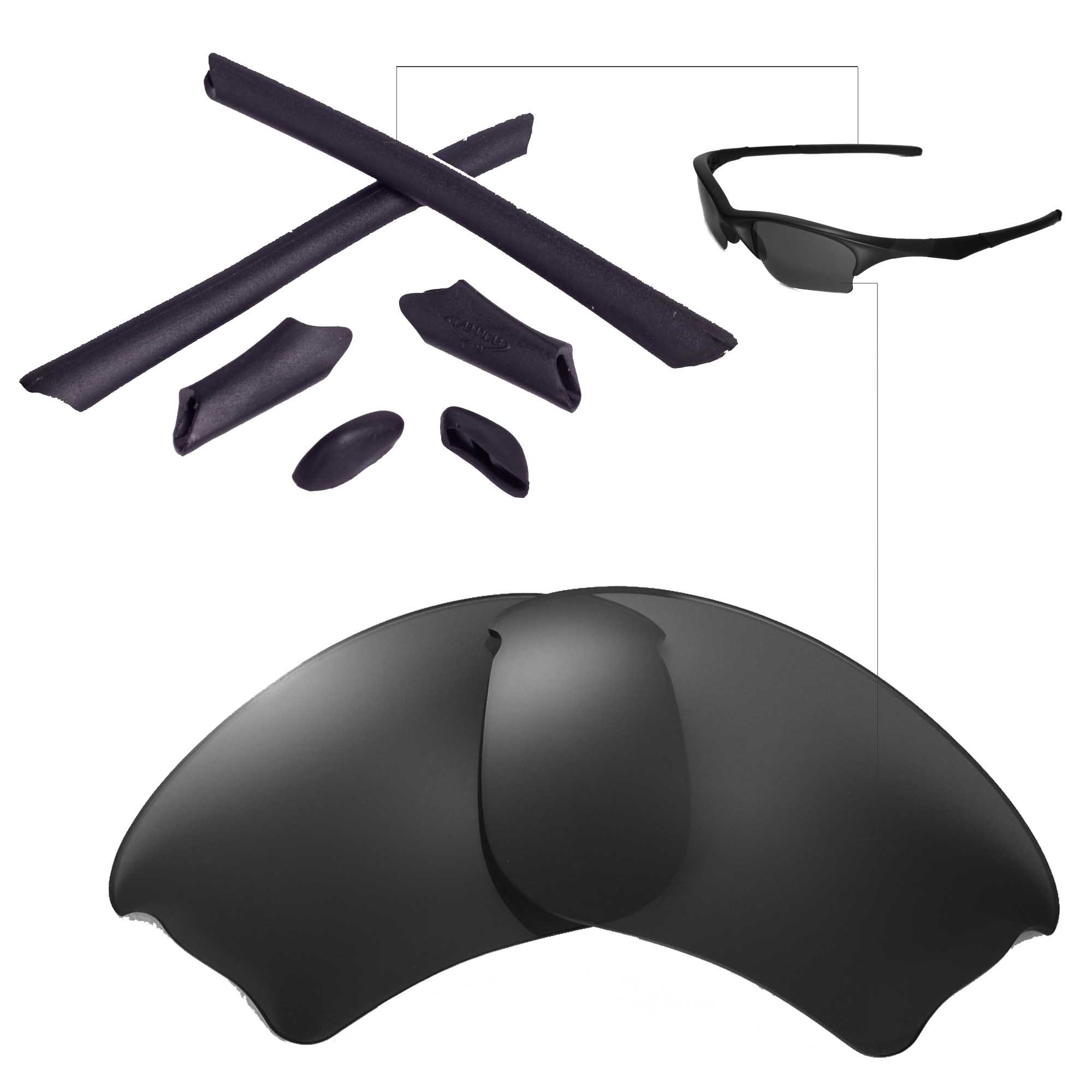 Walleva Polarized Lenses And Rubber Kit(Earsocks+Nosepads) For Oakley Half Jacket XLJ (Black Polarized Lenses + Black Rubber) by Walleva
