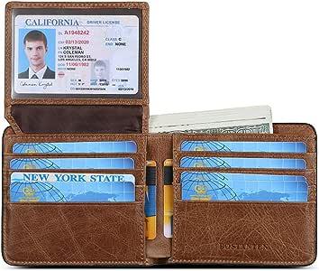 BOSTANTEN Genuine Leather Wallets for Men Slim Front Pocket Bifold RFID Blocking Wallet with ID Window