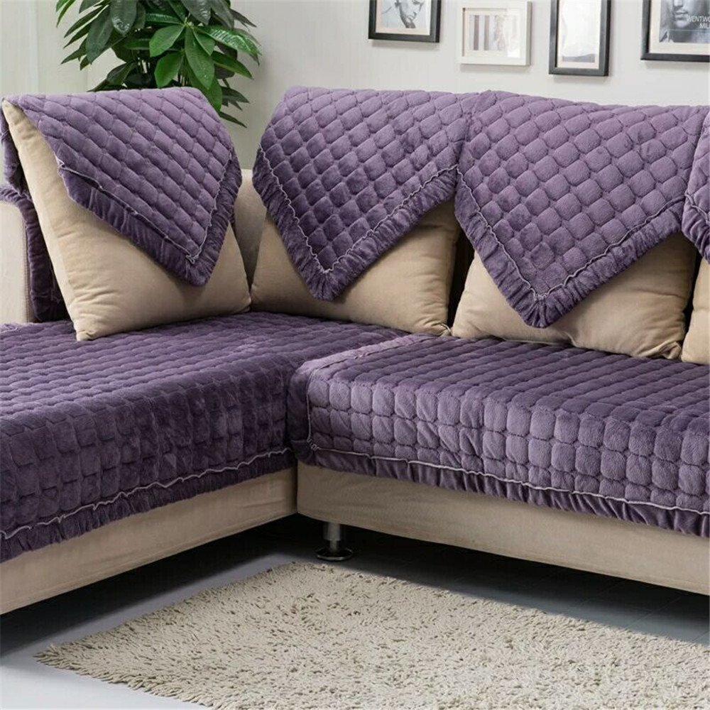 OstepDecor Multi-size Pet Dog Couch Rectangular Soft Quilted Furniture Protectors Covers for Sofa, Loveseat | ONE PIECE | Backing and Armrest Sold Separately | Grape Purple 36'' W x 82'' L (90 x 210cm)