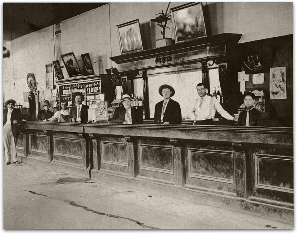 Saloon - Bartenders at Your Service Photo - 11x14 Unframed Print - Great Vintage Gift and Decor for Bar, Restaurant, Man Cave and Home Under $15