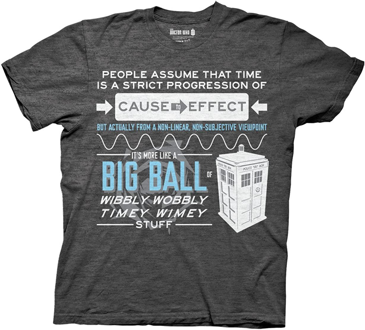 2XL WIBBLY WOBBLY TIMEY WIMEY DR WHO T-SHIRT Red Black or White Funny SHIRT S