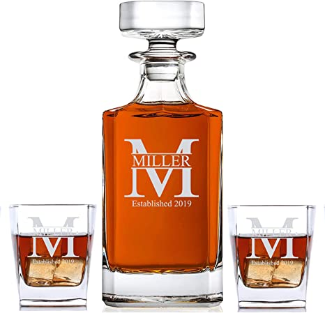 Amazon Com Personalized 3 Piece Whiskey Decanter Set Decanter And 2 Glasses Gift Set Custom Engraved Miller Design Liquor Decanters