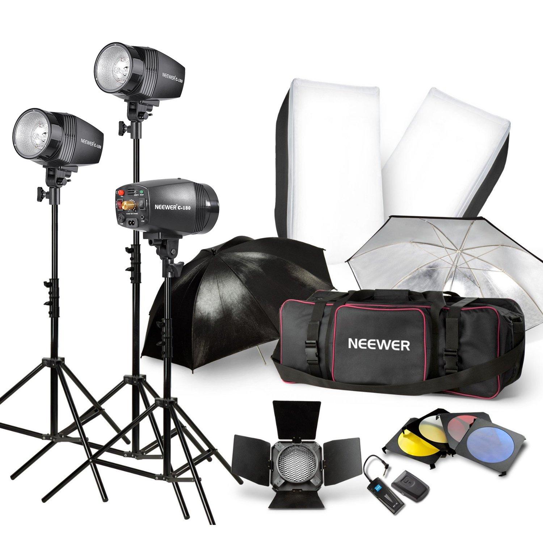 Neewer Photography Studio Kit - 3 x Strobe Lights, 3x Stands ...