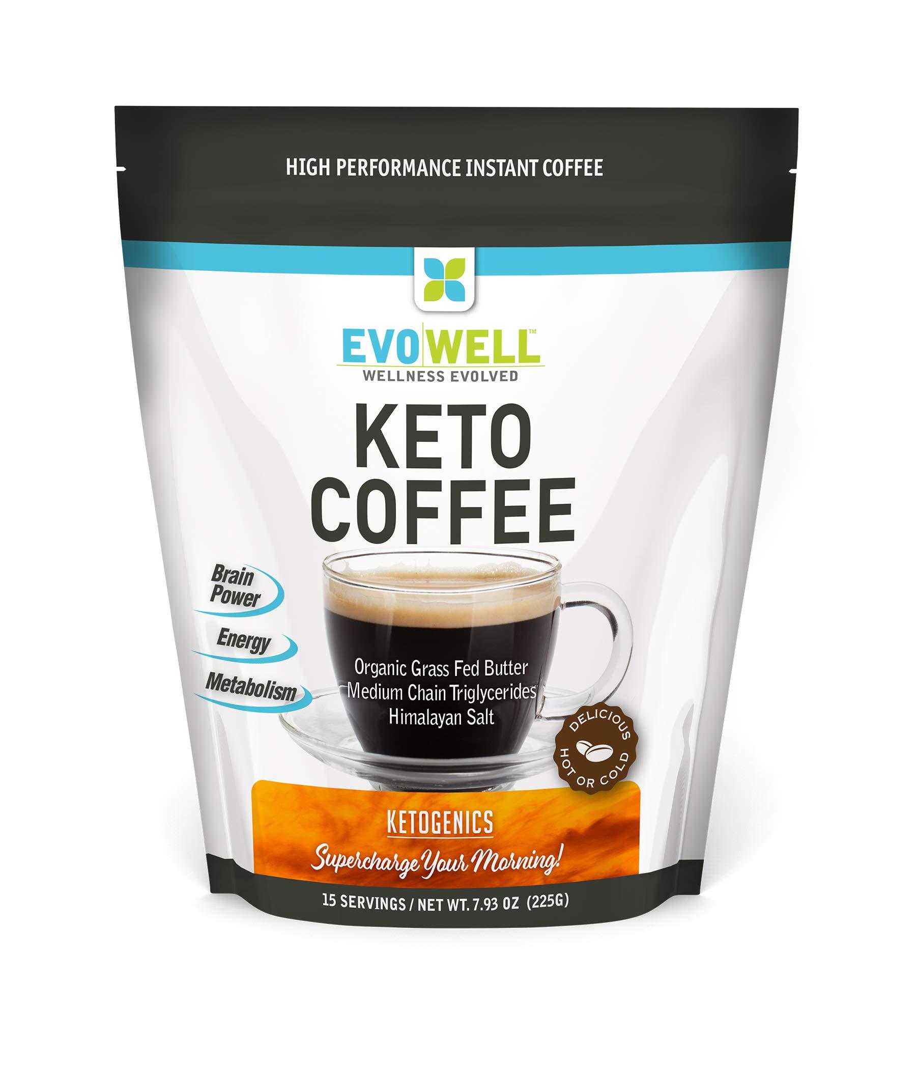 EVOWELL Keto Brown Coffee, Organic Grass Fed Butter, Medium Chain Triglycerides, Himalayan Salt, 15 Servings
