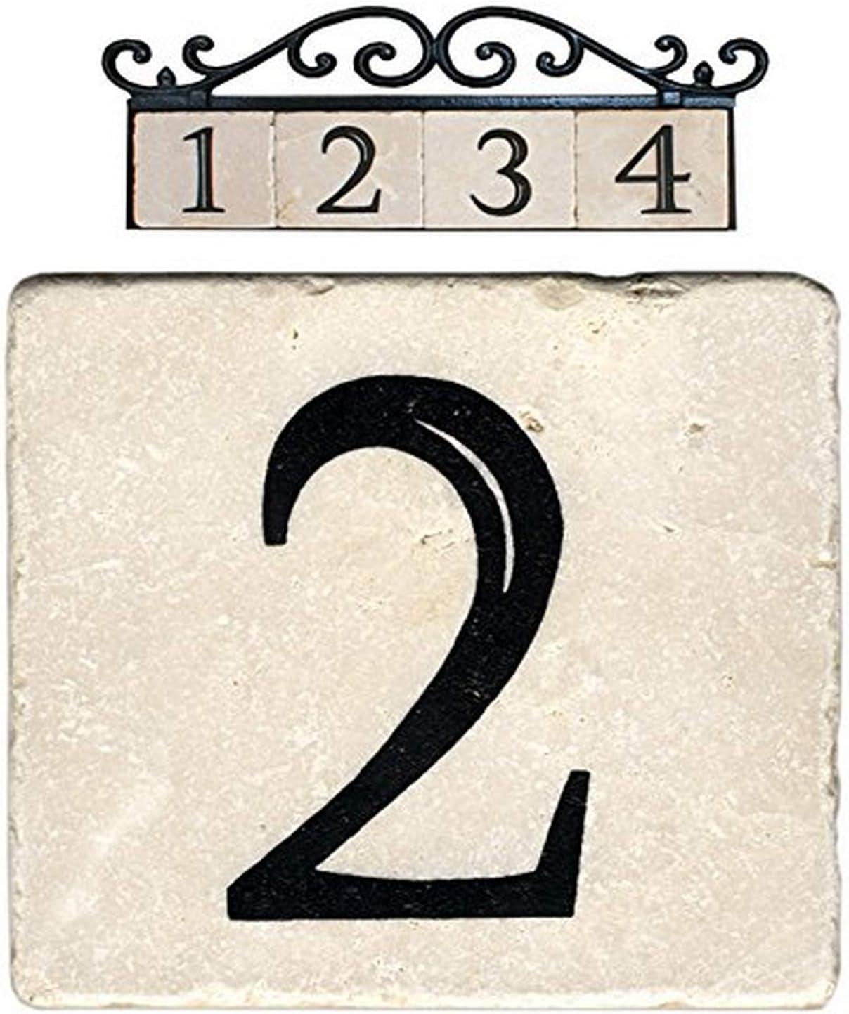 NACH AZ-CLASSIC House Address Number Tiles - #2, Marble/Beige, 4 x 4