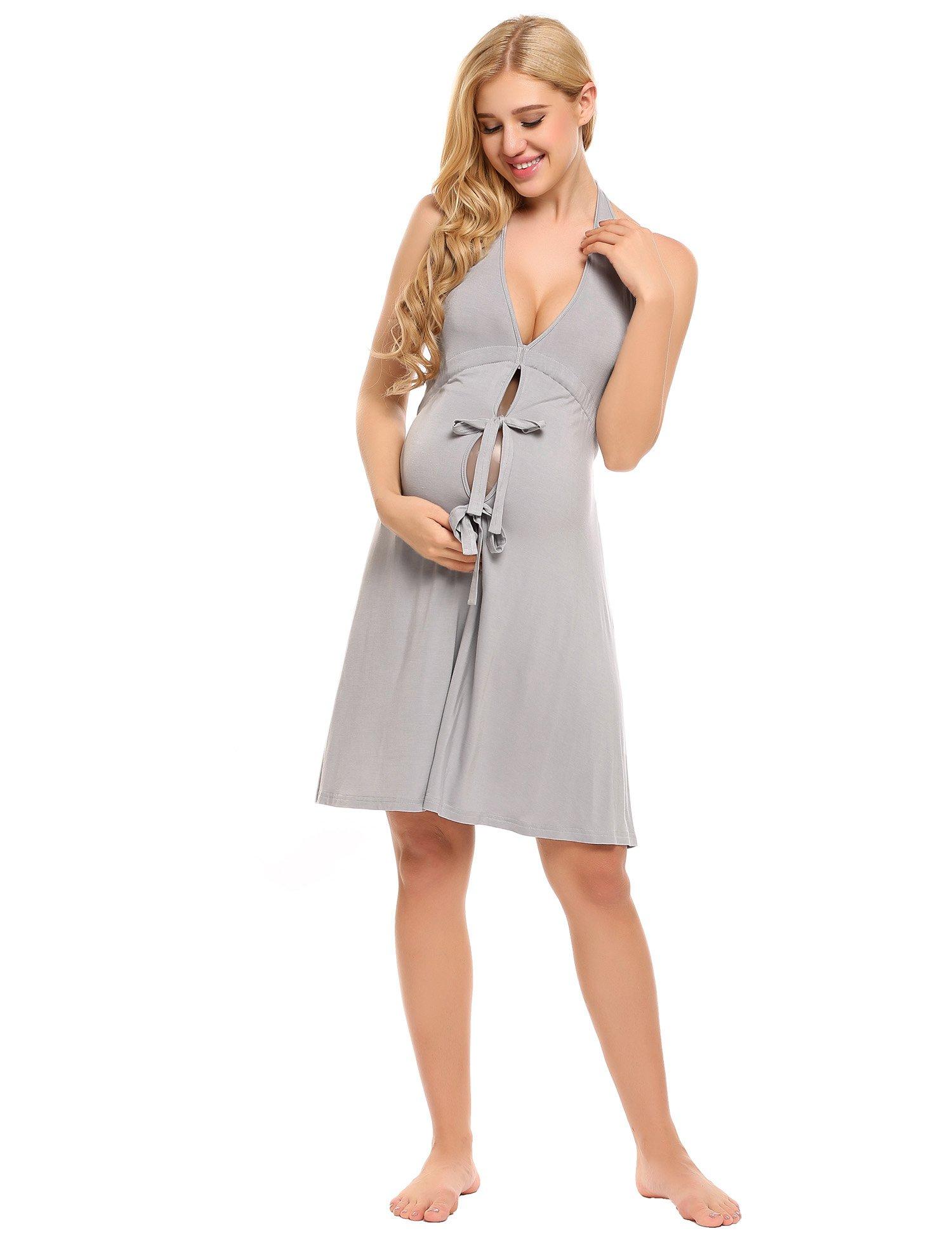 Ekouaer Womens Maternity Nursing Nightgown Dress for Pregnancy/Breastfeeding (Grey-5928) One Size