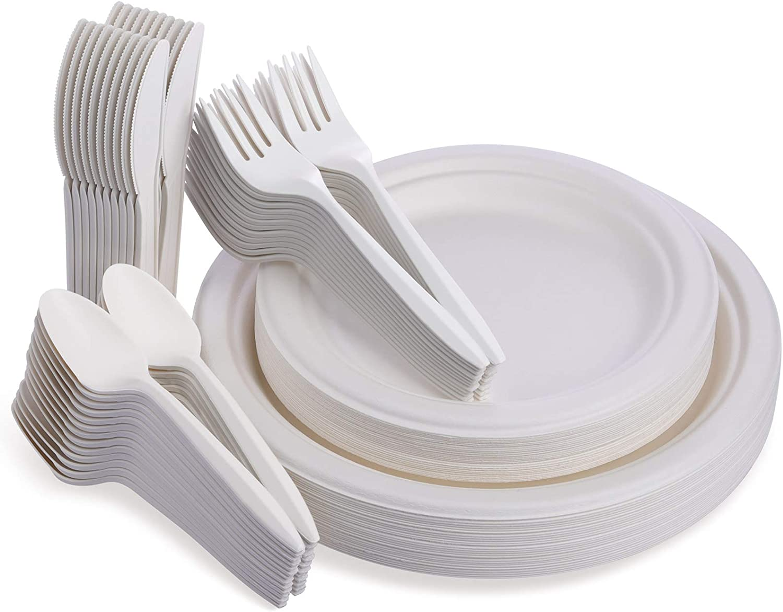 Fuyit Platos Desechables, 125 Piezas Vajilla, Incluye Biodegradable 25 Platos(9 Pulgadas), 25 Platos(7 Pulgadas), 25 Tenedores, 25 Cuchillos y 25 ...