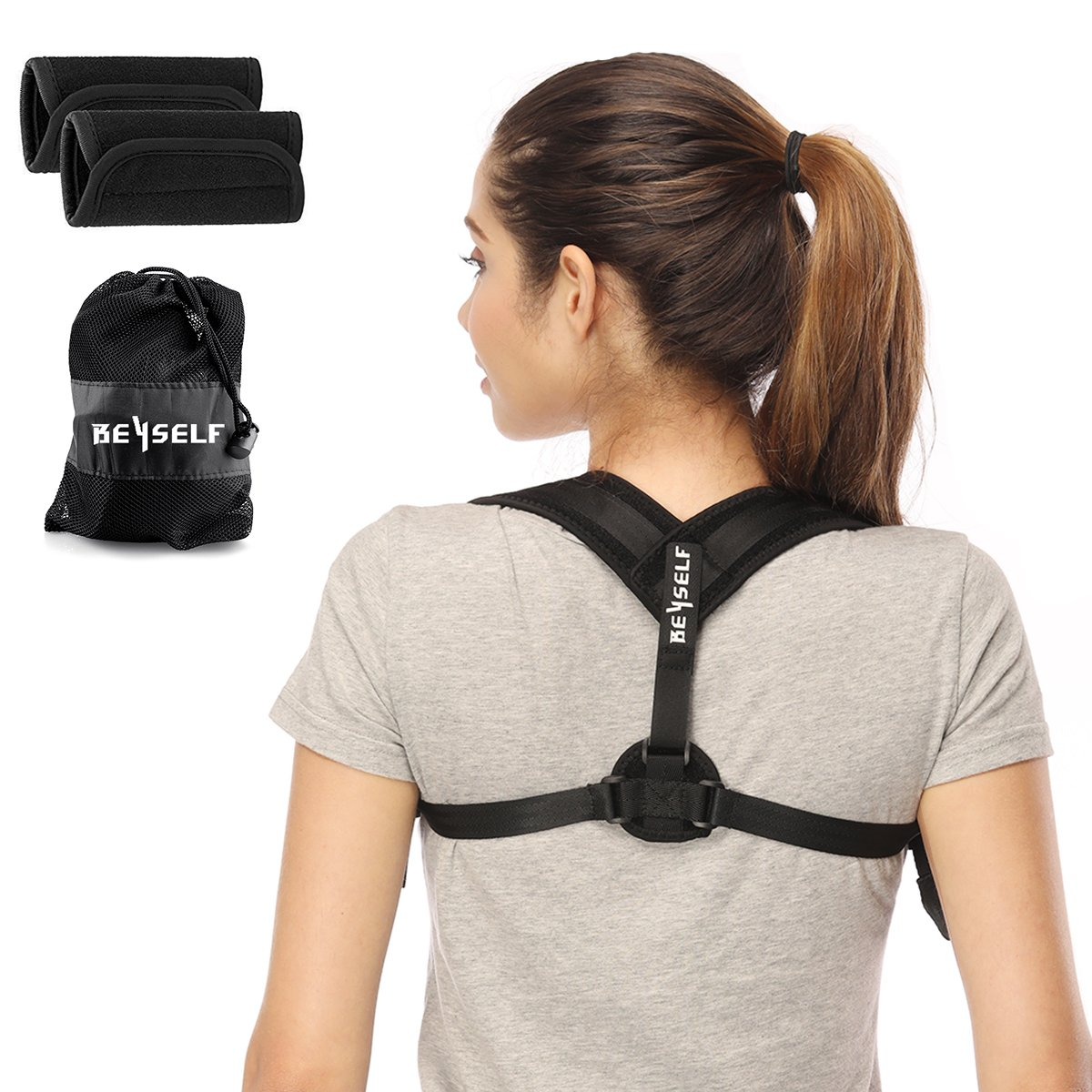 Neiup Back Posture Corrector for Women & Men - Adjustable Posture Correct Brace for Slouching & Hunching - Discreet Design - Detachable Comfortable Armpit Pads, Thoracic Kyphosis, Injury Rehab
