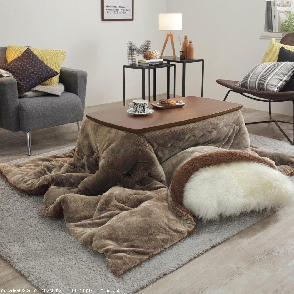 こたつ テーブル 2Way フラットヒーターこたつ 継脚付き 北欧デザイン&こたつ布団 2点セット (こたつサイズ:90x50cm, 布団カラー:ブラウン) こたつサイズ:90x50cm 布団カラー:ブラウン B01MG5EOJ2