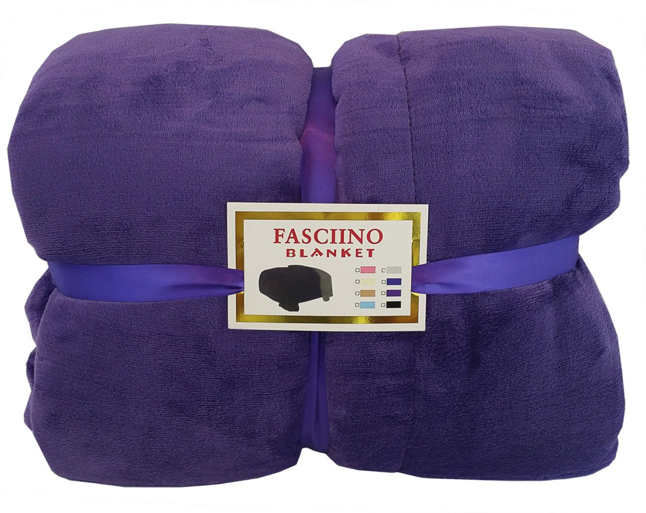 FASCIINO Super Soft Plush Velour Mink Borrego Blanket Throw Queen or Full Size Bed (Royal Purple)