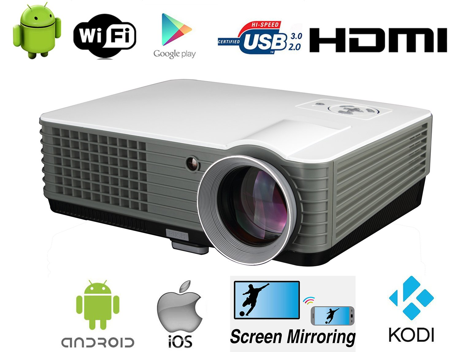 LED proyector WiFi Video proyector 1080P Full HD proyector Android ...
