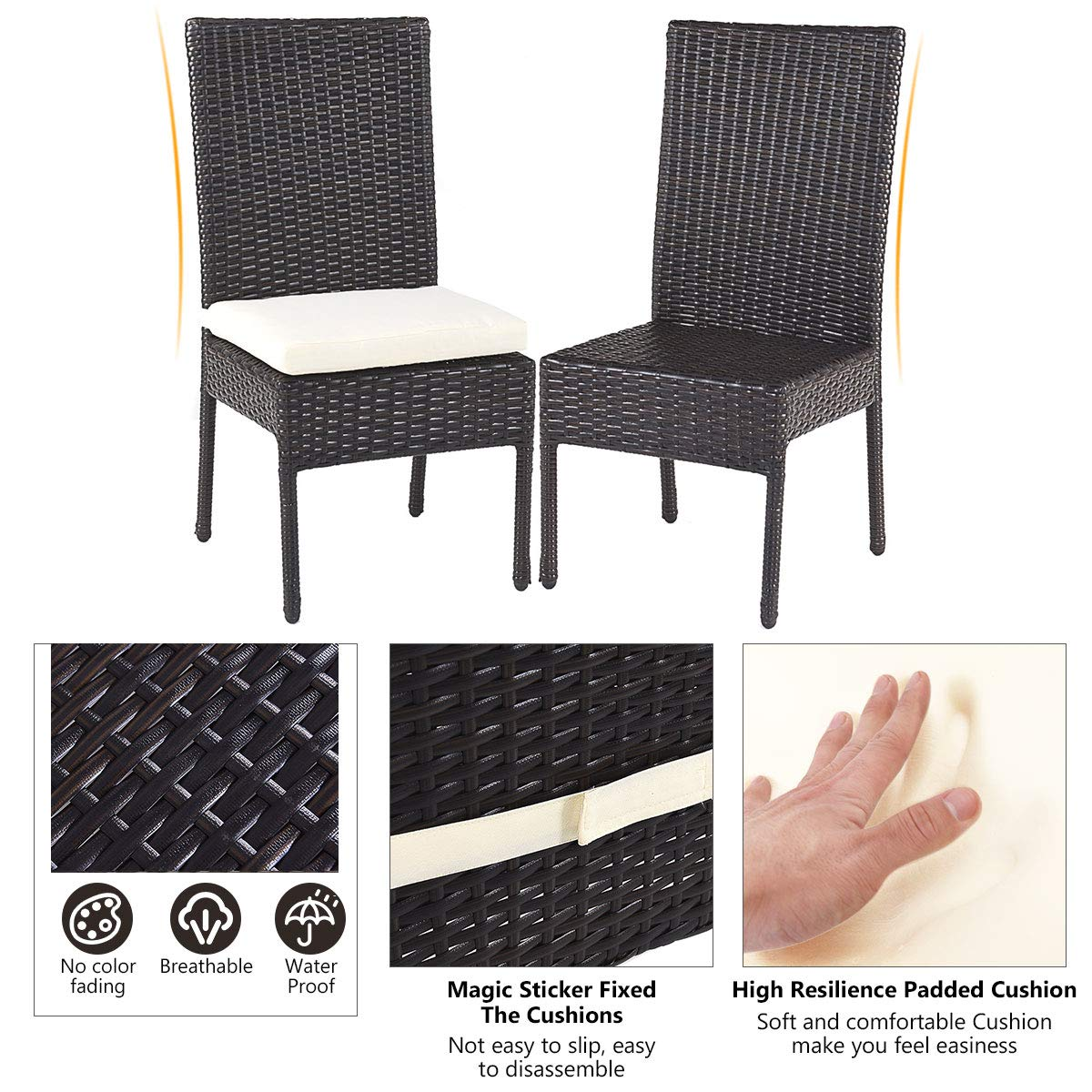 Tangkula Patio Furniture, 5 PCS All Weather Resistant Heavy Duty Wicker Dining Set with Chairs, Perfect for Balcony Patio Garden Poolside, 5 Piece Wicker Table and Chairs Set by Tangkula (Image #6)