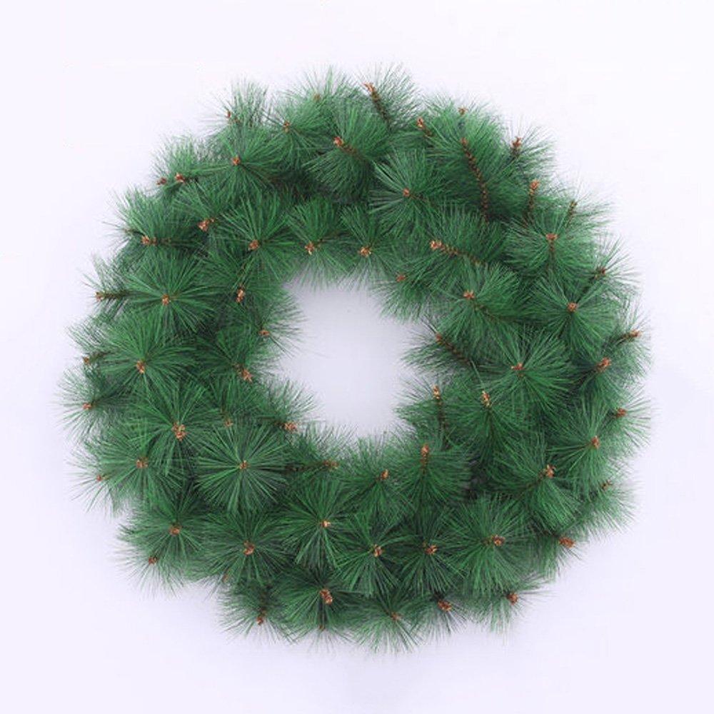 45CM Monochrome Pine Needles Christmas Wreath Shop Window Hotel Decoration Christmas Decorations Green Rattan Garland by LEILEI (Image #4)