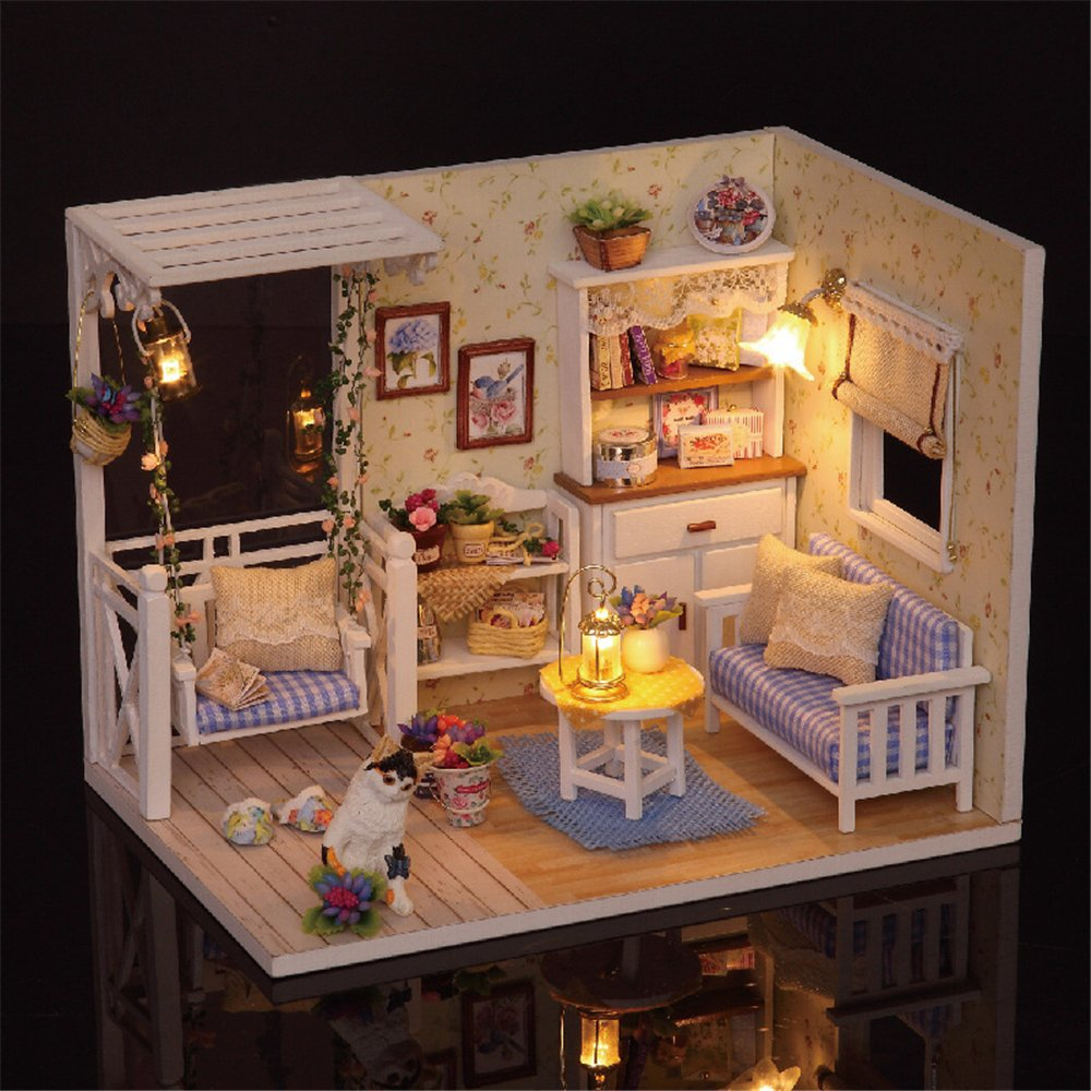 miniature dollhouse furniture woodworking. Amazon.com : Saumota Handmade Wood Material DIY Mini House Room Led Light Miniature Dollhouse Kit Furniture With Cover-Kitten Diary Baby Woodworking E