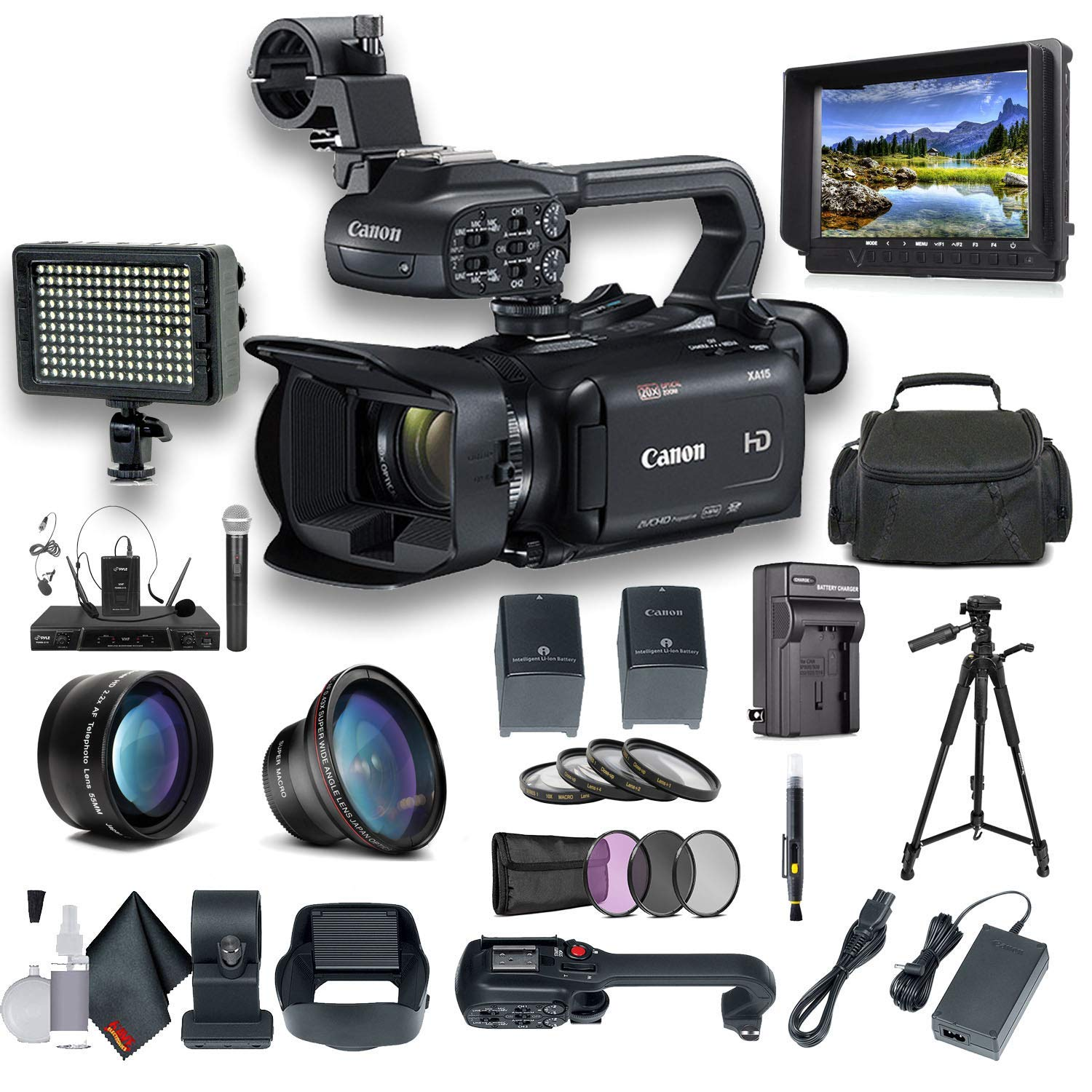 Canon XA15 Compact Full HD Camcorder with SDI, HDMI, and Composite Output Professional Bundle. Includes Extra Battery, Case, LED Light, External Monitor, Mic, Tripod and More by Canon (6AVE)