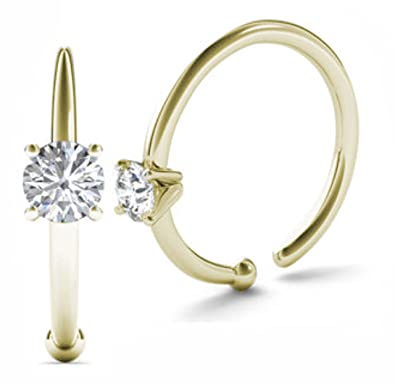 Amazon JewelMore Diamond Nose Ring Hoop 14K White Gold or