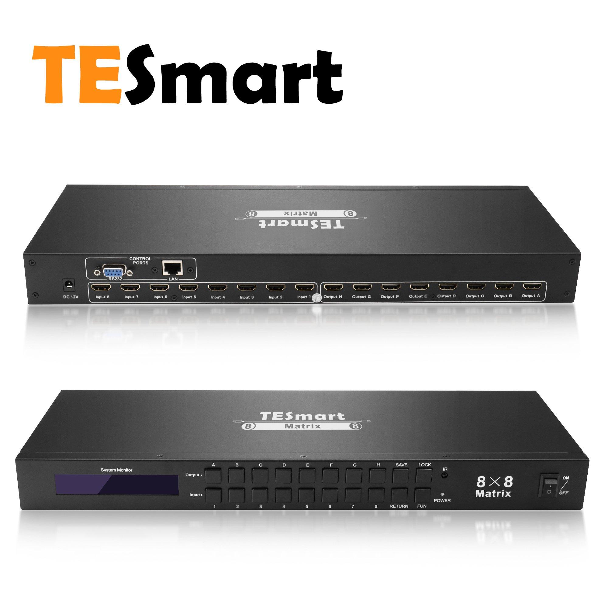 TESmart Rack Mount Ultra HD 4K HDMI 8X8 Matrix Switcher Supports 4Kx2K@30HZ,1080P@60Hz,3D&Deep Color,LAN Port Control,HDMI 1.4
