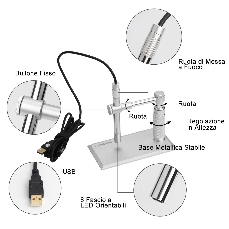 MixMart 2.0MP Microscopio Digitale 500x Ingrandimento con Sensore CMOS Avanzato Luce LED Regolabile 1600X1200 HD Imagine 30fps Video