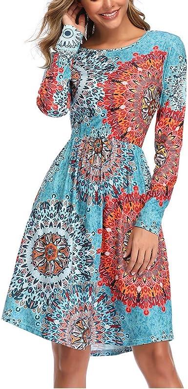 Poachers Vestidos De Fiesta Mujer Cortos Elegantes Cuello Redondo Vestidos Mujer Manga Larga Vestidos De Fiesta Mujer Vestidos Mujer Casual Vestidos Playa Mujer Tallas Grandes Amazon Es Ropa Y Accesorios