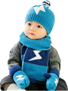 GONGZHUMAMA - Baby Set de 3 Gorro de Punto Resistente al Viento Elástico  para Bebé Niños f293c9e52b4