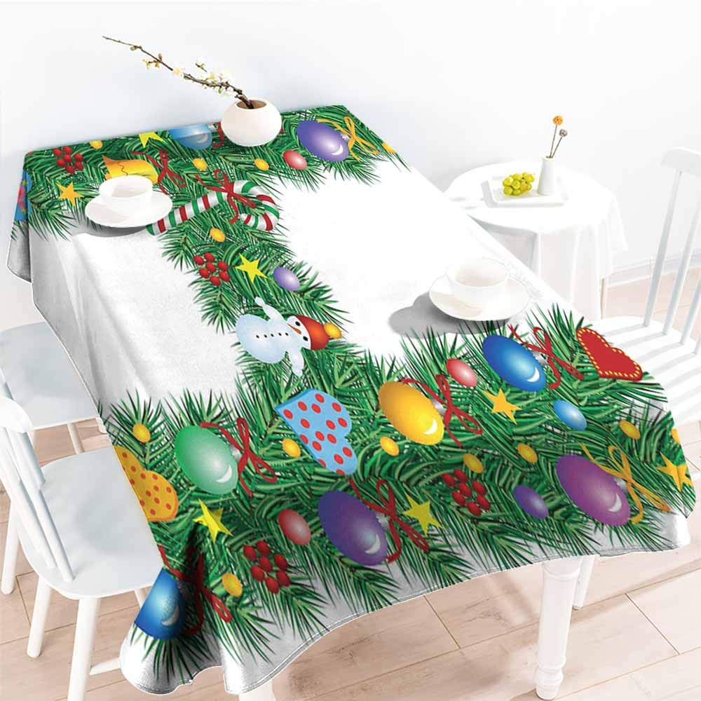 Onefzc Fashions Rectangular Table Cloth,Letter H Uppercase Letter H Pine Tree Pattern with Christmas Celebration Theme Stars Image,Resistant/Spill-Proof/Waterproof Table Cover,W60X102L Multicolor