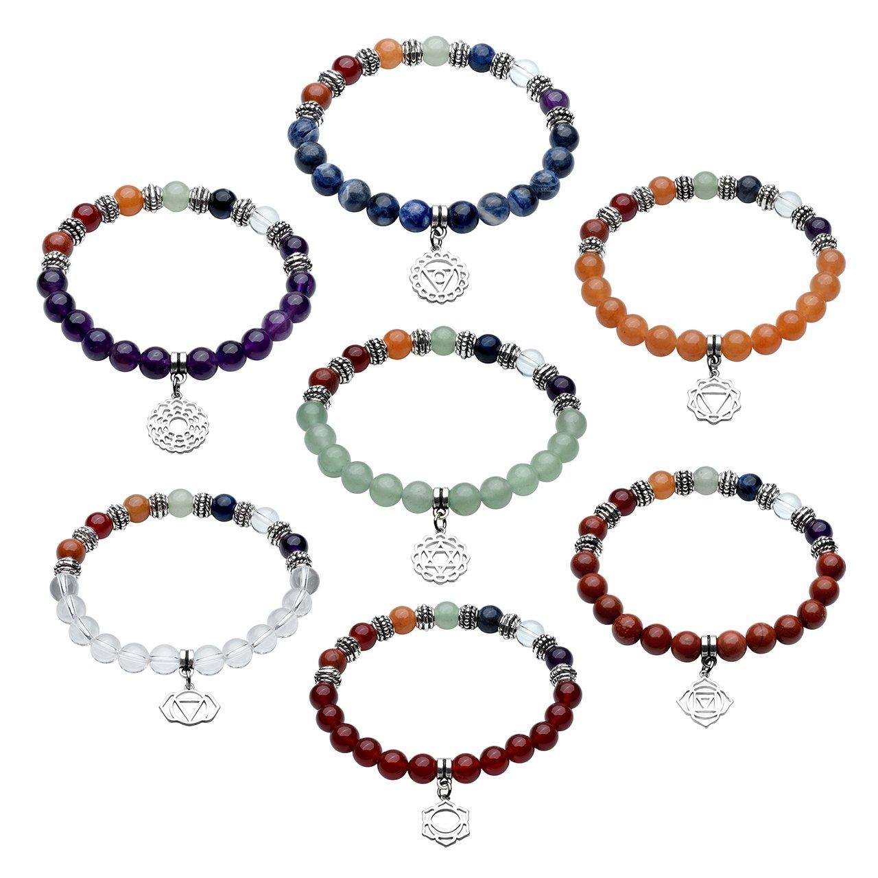 QGEM 7pcs/Set Bracelet en Pierre Chakra Naturelle avec Pendentif Muladhara d\'Energie Perle Reiki Bonheur