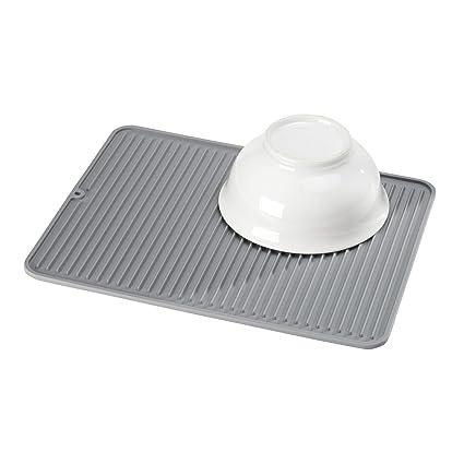 iDesign Secaplatos para fregadero, alfombrilla escurreplatos de silicona para fregadero de tamaño grande, escurridor de platos y vasos, gris