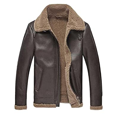f8ae7d666c0a Men s Leather Jacket Men Shearling Jacket Sheepskin Outerwear Bomber  Aviator Fur Coat (M