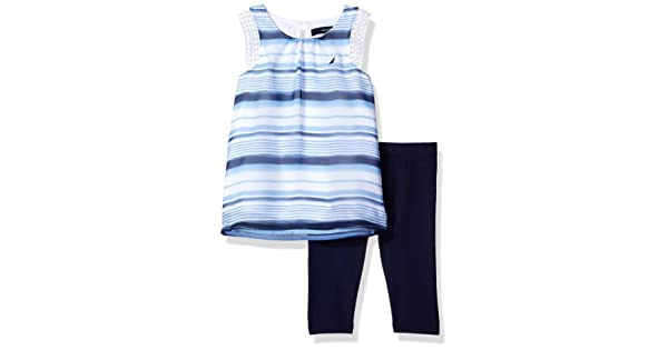cf3fd082b5316 Nautica Baby Girls' Fashion Top with Capri Legging Set,Watercolor Navy  Stripes,12 Months