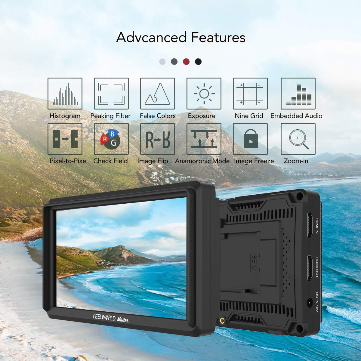 Feelworld Master MA6P DSLR Monitor with 4K HDMI 8.4V DC in/Out, 5.5 Inch Camera Field Monitor Full HD 1920x1080 Peaking Focus Assist Tilt Arm Included by FEELWORLD (Image #3)