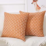 Madizz クッションカバー 45x45 cm 2枚セット ギンガム オレンジ色と白