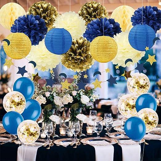 Royal Blue Gold Cream Party Decorations Tissue Paper Pom Poms Lanterns W Balloon