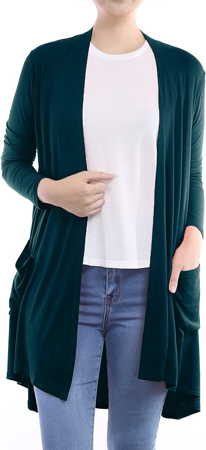 Womens Open Front Lightweight Classic Long Sleeve Front Pocket Cardigan
