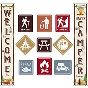 Camping Themed Party Decorations Set, Big Size Laminated Camping Sign Cutouts, Camping Party Banner Welcome Porch Sign for Camping Themed Birthday Baby Shower Decorations