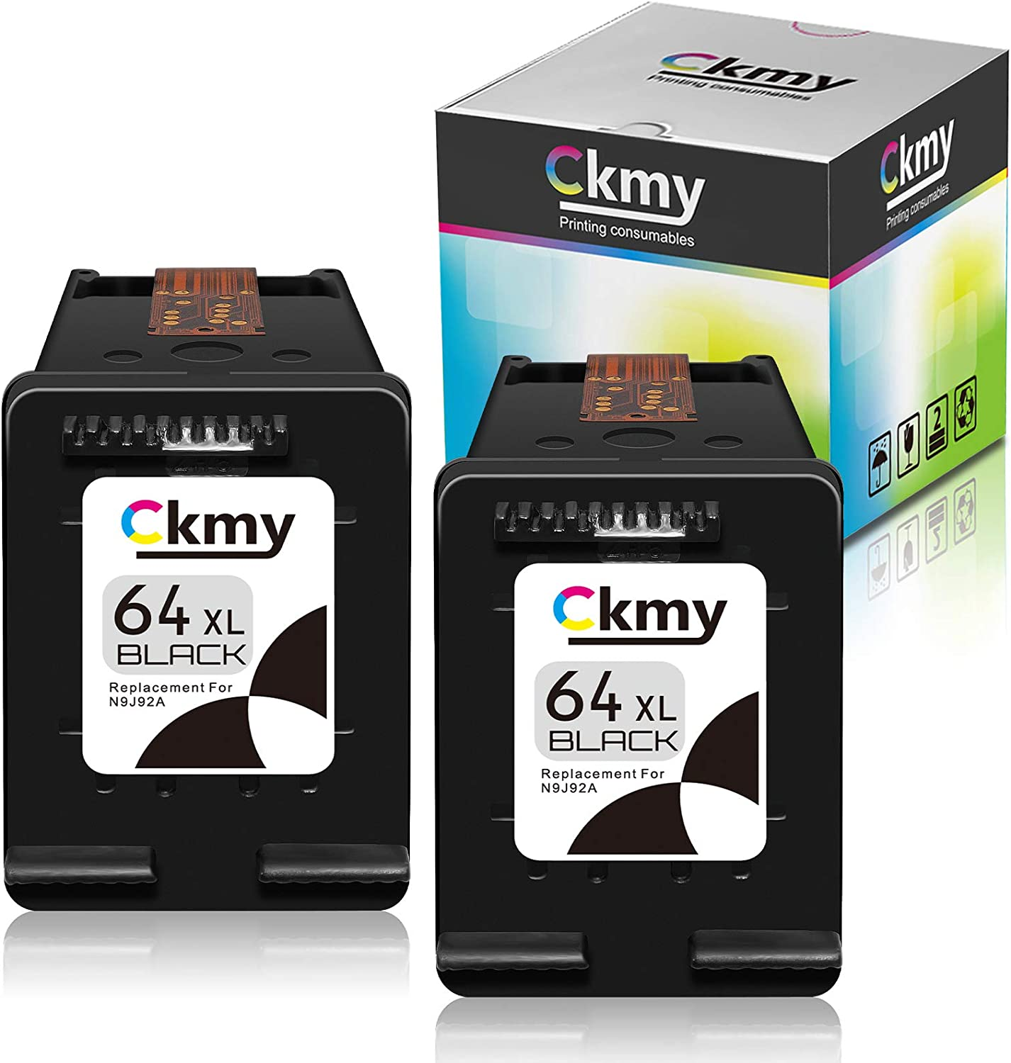 CKMY Remanufactured Ink Cartridge Replacement for HP 64XL 64 XL (2 Black) Use with Envy Photo 7800 7858 7155 7855 6255 6252 7158 7164 6222 7120 7130 Tango X Smart Home Wireless Printer
