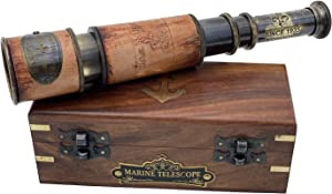 Handheld Brass Telescope Maritime Sailors Masterpiece with Wooden Box Pirate Spyglass