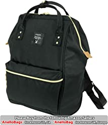 Japan Anello Backpack Unisex LARGE BLACK Rucksack Waterproof Canvas Bag Campus School